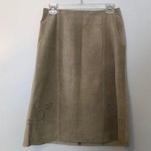Vintage SIGRID OLSEN Suede Laser Cut Floral Skirt